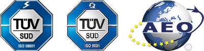 TÜV ISO 9001 and AEO Certificat
