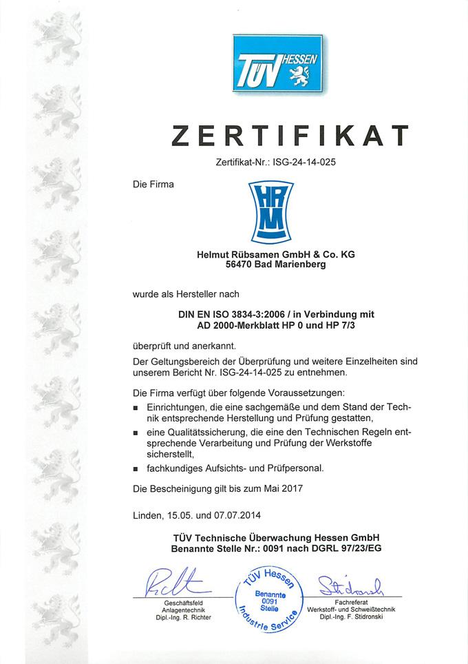 ISO 3834-3:2006 Zertifikat